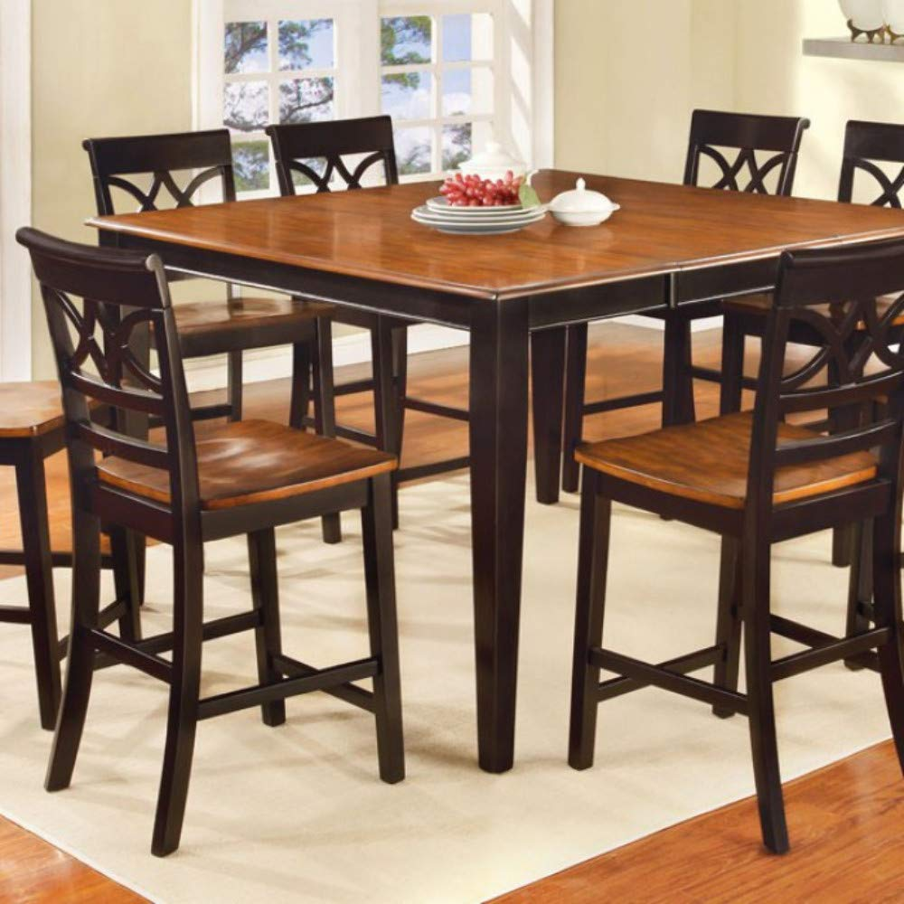 Cottage Style Counter Height Table In Black And Cherry Finish