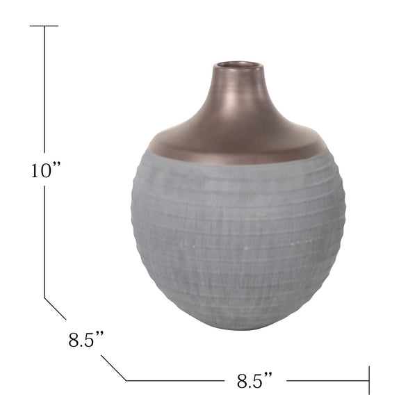 Old-Style Decorative Ceramic Vase, Bronze & Gray