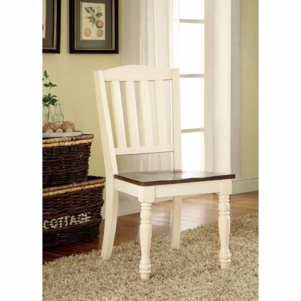 Cottage Side Chair, White & Cherry Finish, Set Of 2
