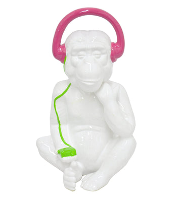 Funky Ceramic Monkey , White