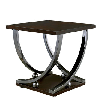 Contemporary Style Wooden End Table with Curled Metal Feet, Brown and Silver