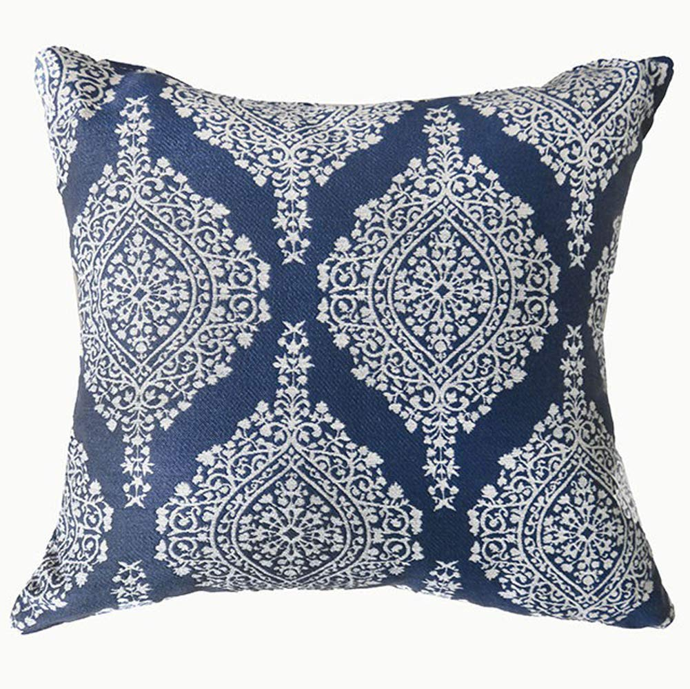 Contemporary Big Pillow With fabric, Blue Finish, Set of 2