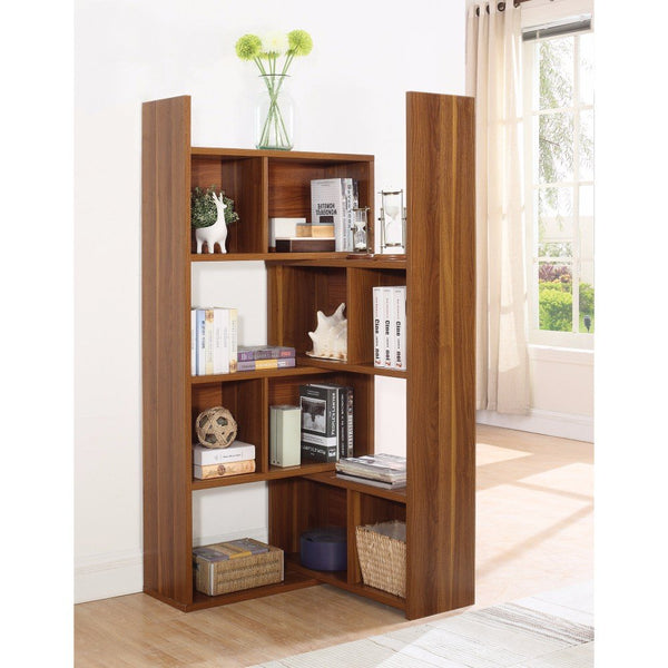 Contemporary Style Corner Bookcase With Multiple Shelves, Brown