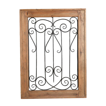 Wood and Metal Scroll Wall decor, Brown and Black