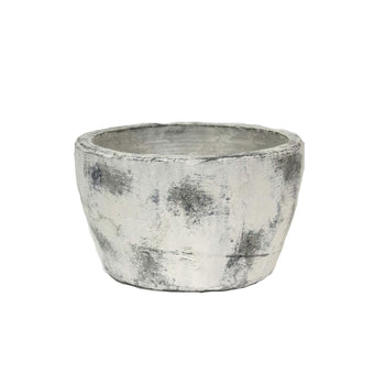 Distressed Terracotta Flower Pot with Tapered Bottom, White