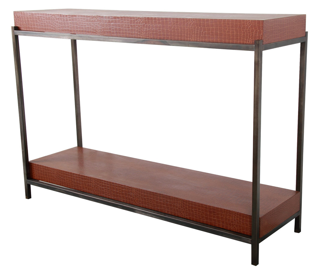 Metal Framed MDF Console Table, Brown & Black