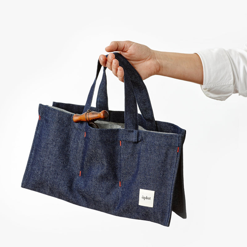 Denim Single Bottle Wine Tote