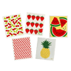 Set of 5 sustainable and biodegradable sponge cloths are similar to a reusable paper towel and also a sponge. Each has a different pattern on them, and there are 5 different reusable sponge cloths featured-- cherries, strawberries, vibrant watermelons and stripes, polka dots, and pineapple prints all on a white background and a white sponge.