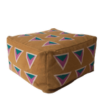 "This beanbag or pouf is mustard, multi colored, and 24"" x 24"" x 15"", with vibrant hand embroidery."