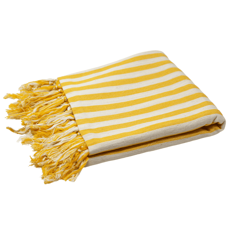 A bright yellow Turkish towel or Patara Pestemal with white stripes and decorative yellow and white tassels. The towel is folded in half--measuring about four inches in thickness.