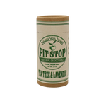 "Zero waste sustainable natural deodorant tube. It's cleverly packaged as ""pit stop"" in minimal packaging. There are a ton of different scents, but this one is tea tree and lavender."