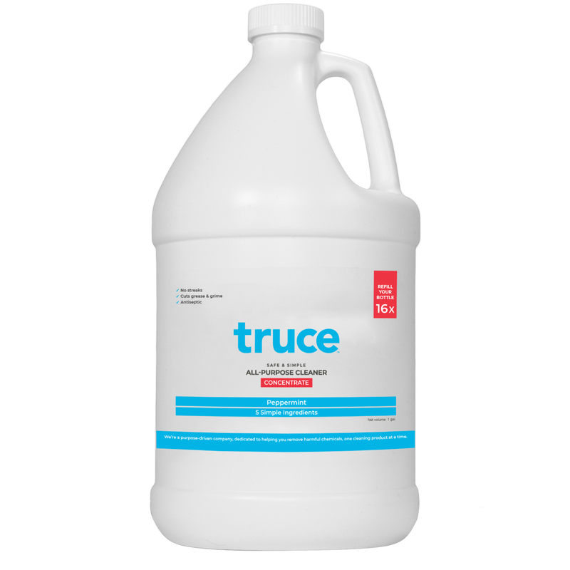 You have multiple non-porous surfaces, but you really only need one cleaner (concentrate). It's this one, by Truce. Pictured here is a 120 oz, white, totally recyclable bottle of all purpose cleaner with resealable twist cap and handle for easy transport. Dilute a portion with water per the directions, and save up to 16 individual bottles of cleaning agents. Clean with Truce, recycle, feel good.
