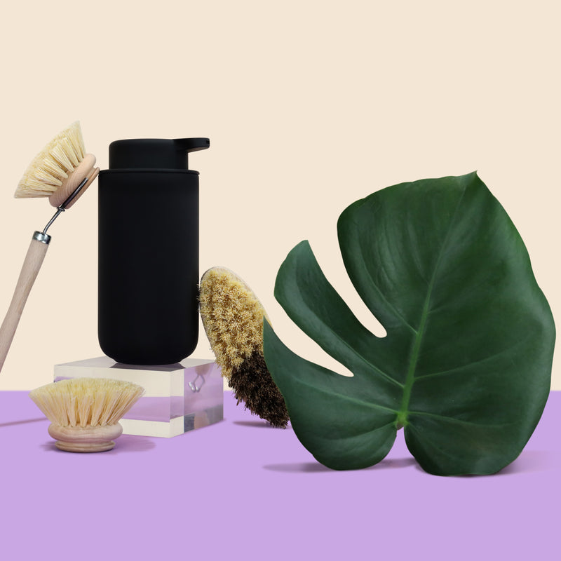 Here we have our refillable soap dispenser flanked by a scrubbing dish brush, replacement brush head, and round multipurpose brush.
