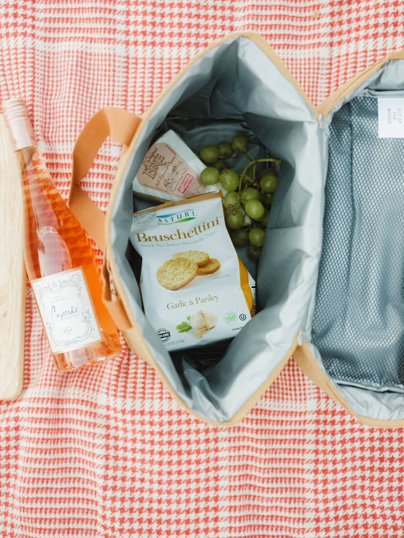 A brown cooler tote bag (made sustainably from paper) is shown from above, open, and on top of a red check houndstooth beach blanket. Inside the bag are picnic snacks (like cheese, grapes, and crackers). There is a bottle of rose next to the bag on the blanket.
