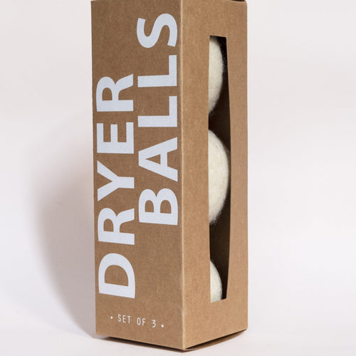 This is the kraft paper packaging that contains the dryer balls.
