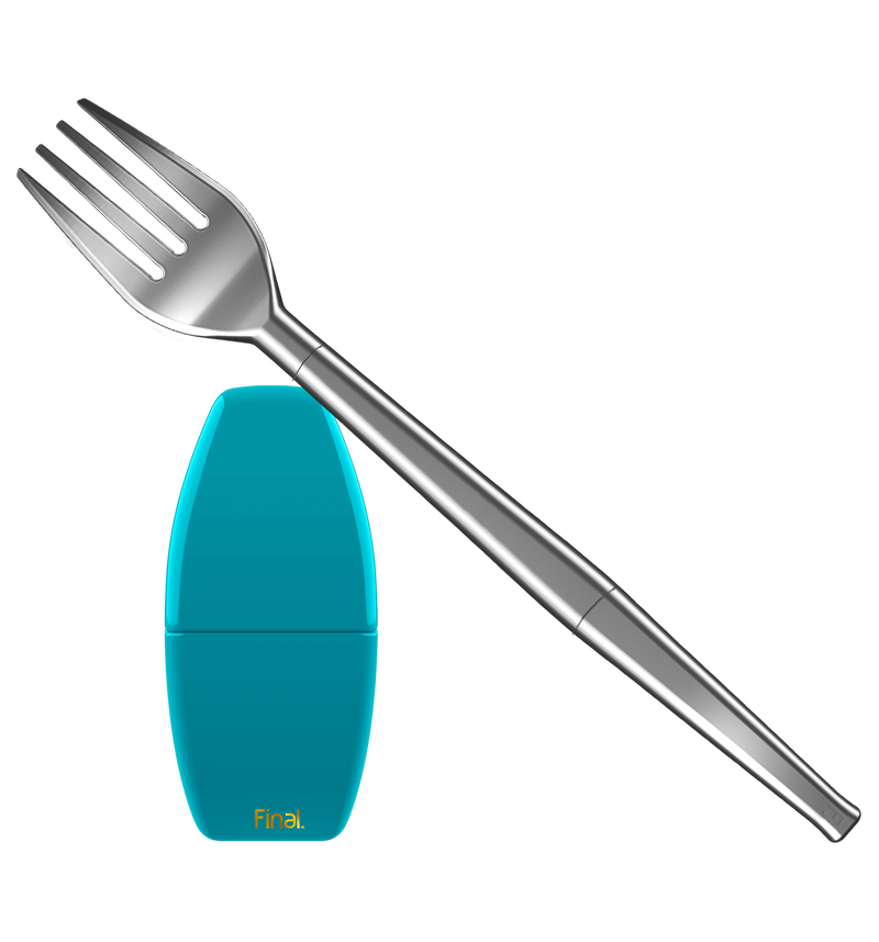 A large silver travel fork takes up most of this image. The fork is collapsible, made from three parts, and the perfect companion for any sustainable meal on-the-go. A blue carrying case for the collapsible fork is also shown in this image, set below the fork on the left side. The case is plain blue expect for a gold Final. logo and measures 4-5 inches in height.
