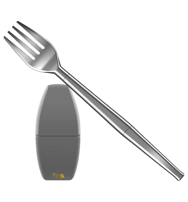 A slate gray collapsible travel fork is shown in this frame, with it's prongs pointed toward the upper left hand corner. A grey carrying case for the straw is placed directly below the prongs. The case has a gold Final. logo and is small in size (around 4-5 inches in height), making it a perfect travel companion. Even if the only place you're traveling to is your local park!