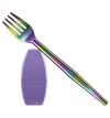 An iridescent travel fork is set across this black image. The fork is collapsible and made from three parts. A purple carrying case for the fork sits below the fork. Measuring four to five inches in height, the case is plain purple aside from a gold Final. logo at the bottom.