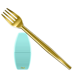 One finds a bright gold collapsible travel fork in this image. Set diagonally across the image--with the fork's prongs on the upper left side of the image. A blue carrying case for the collapsible fork is also found directly below the fork's prongs. The case measures 4-5 inches in height and is plain blue beyond it's Final. logo on the bottom edge.