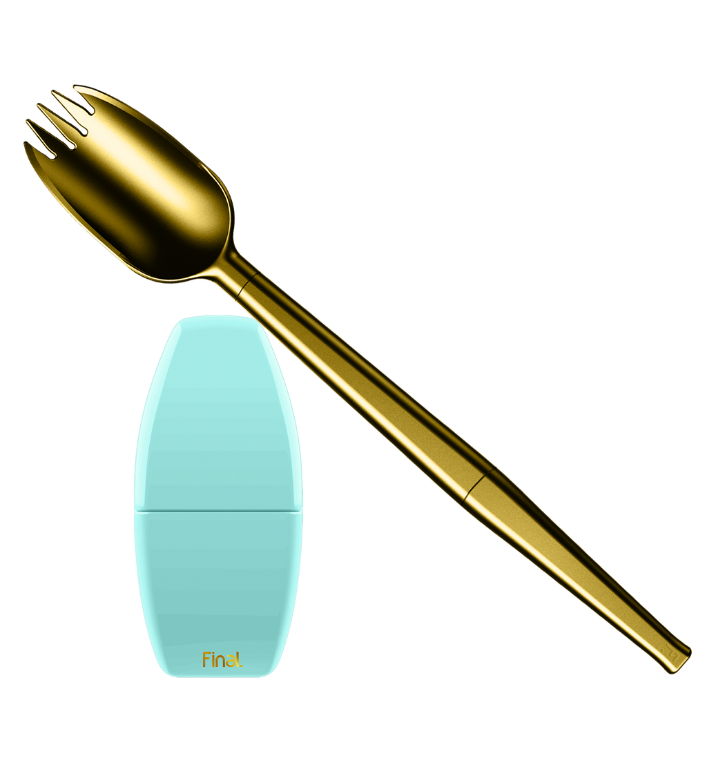 A gold spork--spoon & fork combo--is set across this frame. The prongs of the spork are pointed toward the upper left corner. The image also features a blue carrying case for the spork. The case is plain blue with a gold Final. logo.