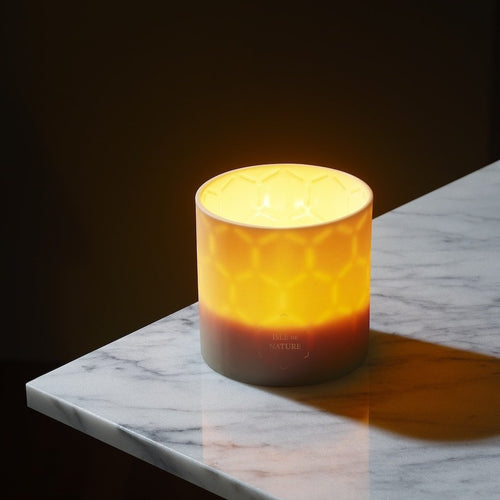 In this photo, the Isle de Nature luxury beeswax candle is lit in the darkness, and the flame within makes the subtle beeswax pattern in the clay visible to the eye.