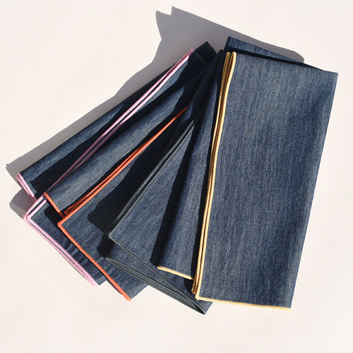 Rainbow Denim 4-Piece Napkin Set