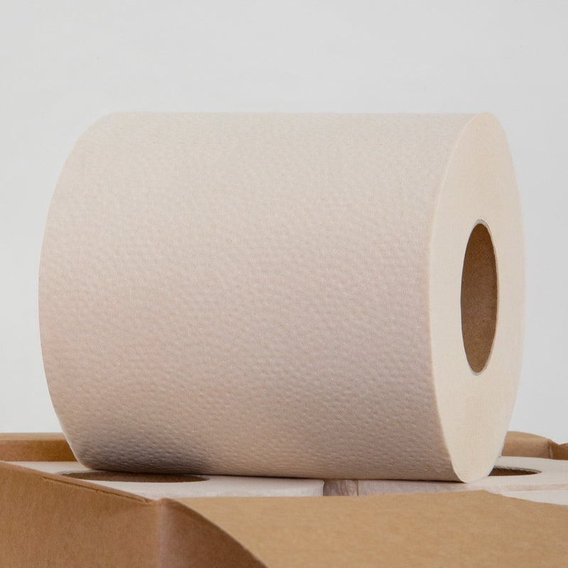 This is an earthy, evocative shot of a roll of toilet paper. Peaking into the bottom of the frame is an open, unprocessed brown box containing barely-visible rolls (two of them). On top of those rolls, and the primary focus of the shot, is a roll of toilet paper sitting on its side.