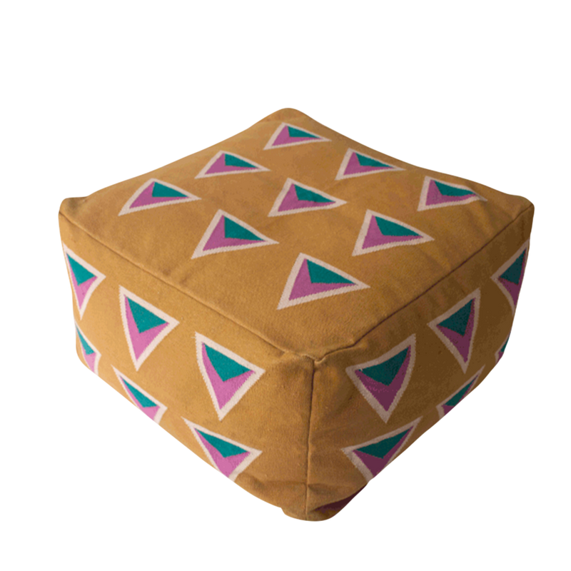 This beanbag or pouf is plush and shaped like a cube or a square. It's a mustard color, and there are bright multicolored triangles in contrasting colors that make up a pattern on the front of the sustainable seating.
