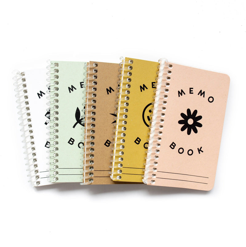 This is a stack of five, sustainable, pastel and colorful pocket sized notebooks.