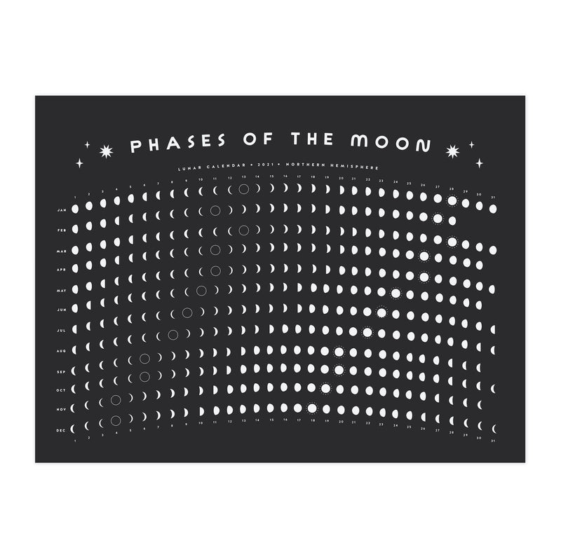 This 2021 lunar calendar wall art is horizontal and printed on recycled black paper. It has moon designs everywhere, phases of the moon and is even NASA approved.
