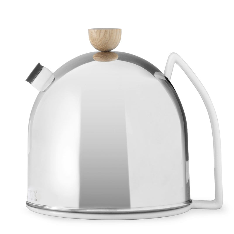 A sexy futuristic teapot perfect for high tea on the moon? This is a cute as hell little stainless steel dome teapot with a short little spout and beautifully shaped handle. It has a wooden knob on the lid that looks like a half sphere. It is on a white background.