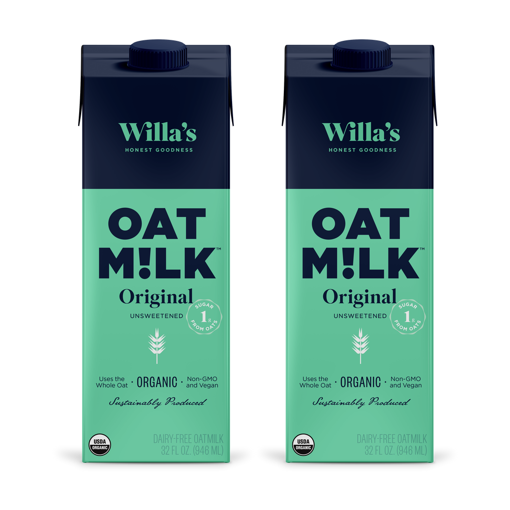 Two cartons of super sustainable shelf stable oat milk with bright blue and teal packaging keep things fresh and fun!