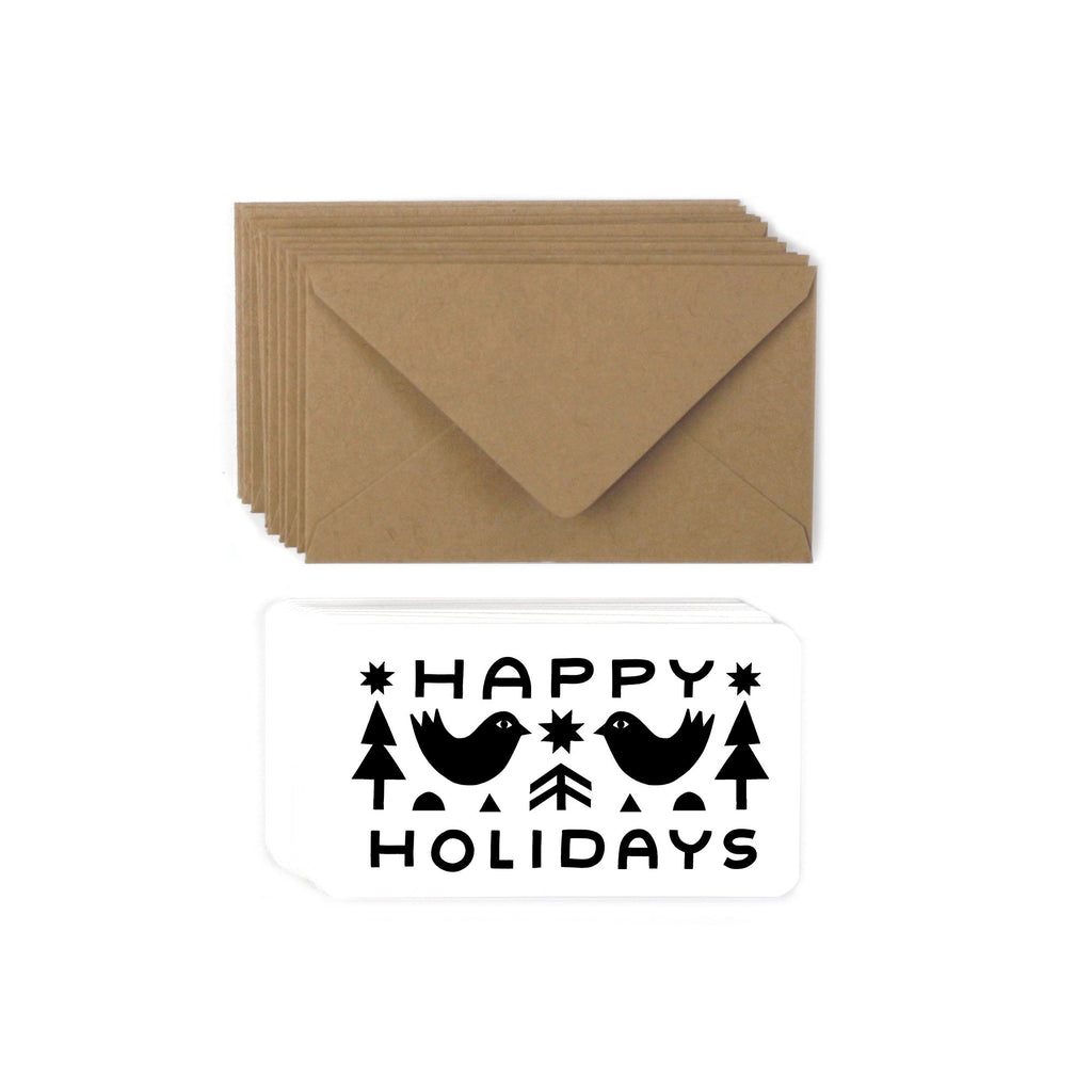 "These unique sustainable holiday gift cards are actually the perfect size for gifting, at 2.5"" x 3.5"". Each card is printed on recycled paper with sustainable and eco friendly inks and a matching kraft envelope."