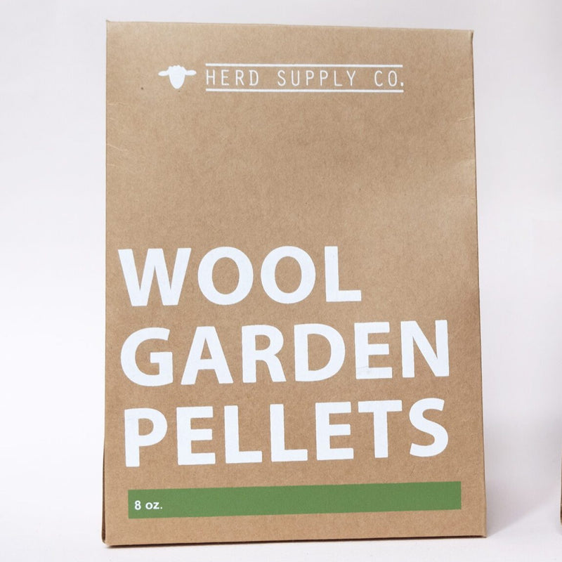 This kraft paper bag of wool garden pellets is a biodegradable, organic aid for farmers that helps aerate soils and keep plants hydrated.
