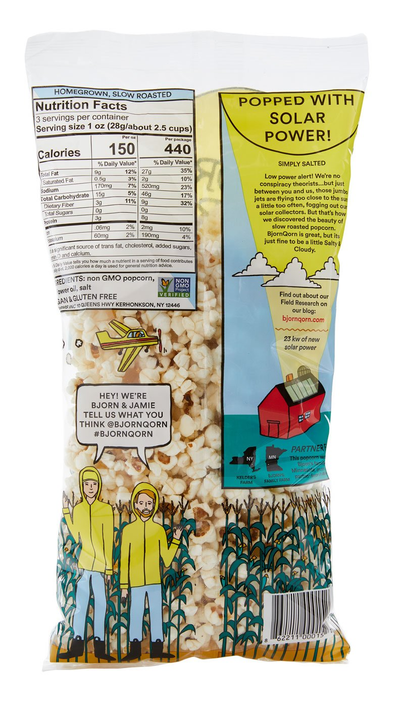 The back of the BjornQorn Salty bag has nutrition facts on the left side. The left side also features an illustration of two men in a cornstalk patch wearing matching yellow jackets and hats--the two founders of BjornQorn. The right site has information on the solar power popping system and a graphic of a red barn being powered by solar power.