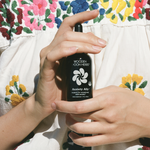 Mother Nature's never looked this good--a women in a colorful embroidered dress gingerly holds an amber glass tincture bottle close to her chest. Her delicate fingers nestle your new ally, your Anxiety Ally. All natural, organic, and eco-friendly ingredients ease tensions, drop by drop.