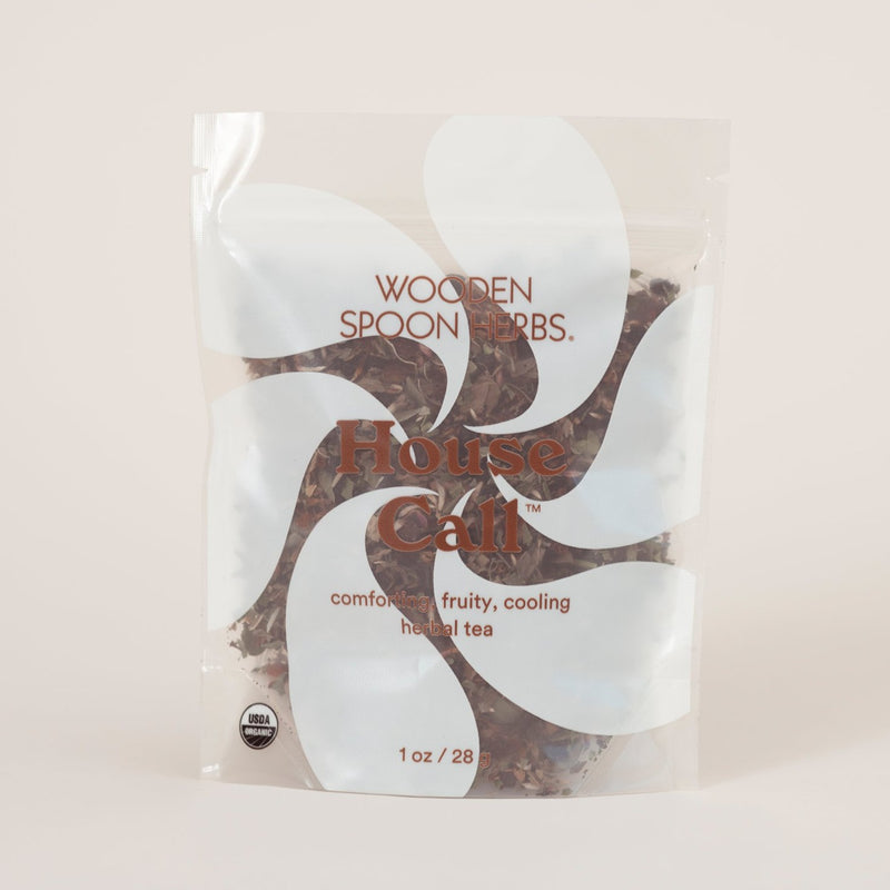 Stave off sickness with a few scoops of House Call tea. Here, we see it featured in its totally compostable, white and transparent resealable  packaging.