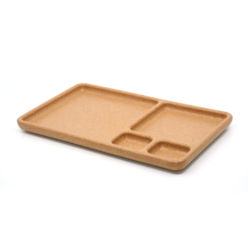 Eco-friendly cork organizer tray — Half of the tray is a square for larger items like sunglasses or your phone, the other half is divided into 3 sections — one square and 2 smaller rectangles perfect your AirPods, thumbtacks, erasers and other small desk goods. This is a perfect addition for your desk organization dreams.