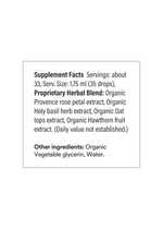 A simple list of ingredients notes about 33 servings per bottle. Each contains organic rose petal, holy basil, oat, and hawthorn fruit extracts.