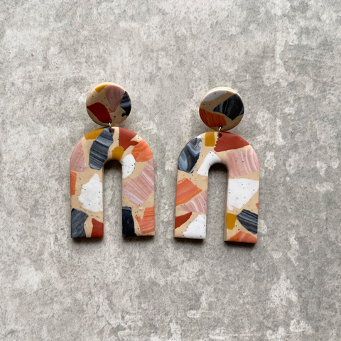 Terrazzo Arch Earrings in Rust