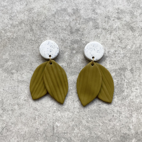 Bud Earrings in Olive