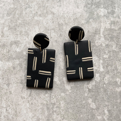 Dot and Block Statement Earrings in Black