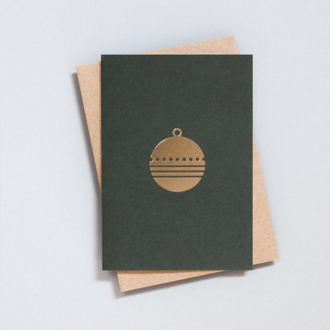 Foil Blocked Bauble Card in Green