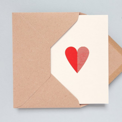 Heart Print Card in Red
