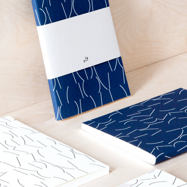 Sol Print Layflat Notebook in Navy