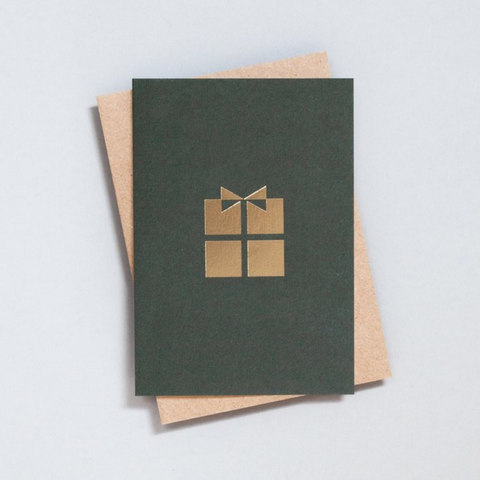 Foil Blocked Present Card in Green