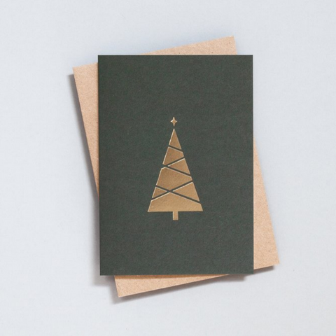 Foil Blocked Tree Card in Green