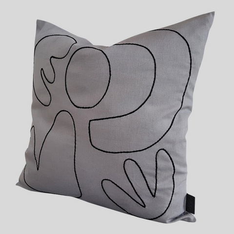 Abstract Cushion Cover in Dove Grey