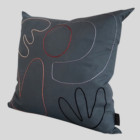 Abstract Cushion Cover in Charcoal