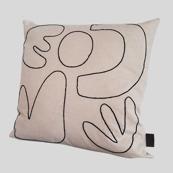 Abstract Cushion Cover in Natural